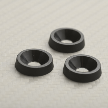 Black plastic finishing washer